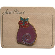 Laurel Burch Mythical Cat Pin Unused Vintage Brooch Original Card Offered by Ruby Lane shop Cousins Antiques