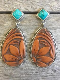 Hand Tooled Leather & Turquoise Earrings Handcrafted sterling silver earrings crafted with natural Turquoise, Tooled Leather, and backed entirely with solid Sterling Silver. Earrings crafted entirely by hand. Choose from Vine (modeled) or Floral tooling i I Love Jewelry, Boho Jewelry, Antique Jewelry, Silver Jewelry, Vintage Jewelry, Jewelry Necklaces, Fashion Jewelry, Handmade Jewelry, Silver Earrings