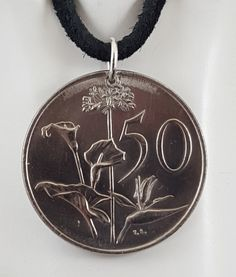 1980 South Africa Coin Necklace, 50 Cents, Mens Necklace, Womens Necklace, Coin Pendant, Leather Cord, Vintage