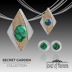 GIFT IDEA #8: December Birthstones from the Secret Garden Collection  The Secret Garden Collection is full of colorful natural stone pendants and earrings with layered textures and mixed metal patinas. If you have someone with a December Birthday on your list, how about a turquoise or lapis lazuli piece in fine silver (.999) The post earrings from this collection are fan favorites.   Available on the website at http://www.jewelofhavana.com/store/c73/HandmadeNaturalStoneJewelry