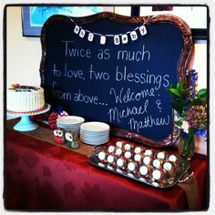 Twin baby shower, navy and orange shower, chalkboard