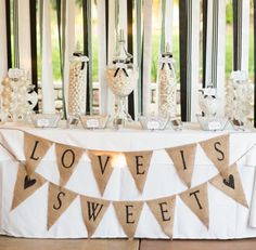 "Show Ad - Decor - USA - Bay Area - California - Burlap ""Love is Sweet"" sign 