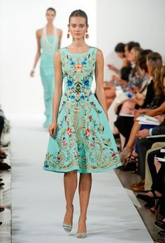 oscar de la renta dress with flower embrodery | Oscar De La Renta Spring Summer 2014, teal embroidered cocktail dress