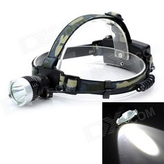 J6-B Outdoor 300lm 3-Mode Cool White Light LED Headlamp - Black (2 x 18650)