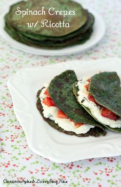 Spinach Crepes with Ricotta, Tomatoes and Basil | Cinnamon Spice & Everything Nice