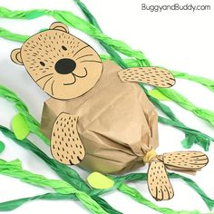 Stuffed Paper Bag Sea Otter Craft with Printable Template!, DIY and Crafts, Paper Bag Sea Otter Craft for Kids with Free Printable Template: This sea otter craft is super easy to make and goes great with an ocean or sea life u. Arts And Crafts For Teens, Animal Crafts For Kids, Easy Arts And Crafts, Crafts For Kids To Make, Arts And Crafts Projects, Arts And Crafts Supplies, Sea Animal Crafts, Sea Life Crafts, Sea Crafts