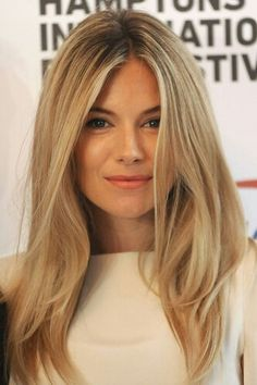 love the length - sienna miller // buttery blonde hair color 2015 Hairstyles, Celebrity Hairstyles, Straight Hairstyles, Blonde Hairstyles, Short Haircuts, Trendy Hairstyles, Layered Haircuts, Medium Hairstyles, Wedding Hairstyles