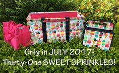 Sweet Sprinkles... JULY 2017 only! Love this new print in Large Utility Tote, Double Duty Caddy and Oh-Snap Bin from Thirty-One. #ThirtyOne