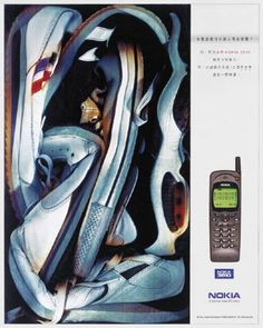 """Read more: https://www.luerzersarchive.com/en/magazine/print-detail/nokia-1121.html Nokia How to stuff six running shoes into such a small phone. (Explanation: The display of the cellular phone provides enough room for the Chinese characters for """"running shoe"""" to be written six times.) Tags: Dick Chan,Iric Chun,Derek Chung,Lavin Kwan,O«poon  Bates, Hong Kong,Nokia,Ron Cheung,Bates 141, Hong Kong"""