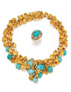 18 Karat Gold, Turquoise and Diamond Necklace-Brooch and 18 Karat Two-Color Gold Turquoise and Diamond Ring, David Webb, Circa 1950 | Lot | Sotheby's