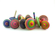Wooden spinning tops x 3 Woodturning by SilvanWoodturning