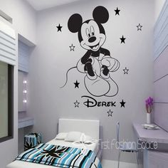 too cool!! Name Personalized Removable Mickey Mouse Cartoon Vinyl Wall Decals Art Wall Stickers ,Kid Room Wallpaper Decor 50*67cm