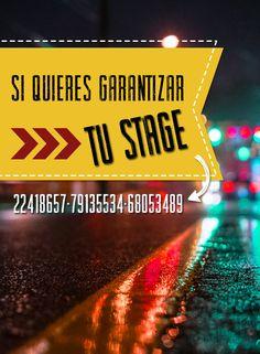 Si quieres garantizar tu stage, con sólo llamar a los números 22418657 - 79135534 – 68053489 ya puedes relajarte y saber que de 12:00 p.m. hasta las 22:30 p.m. habrá un lugar sólo para ti.