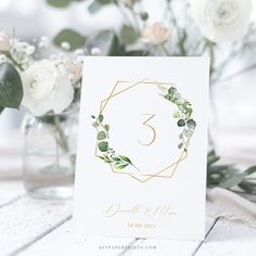 Greenery Table Number Card Template, Wedding Table Number, 100% Editable Text, Printable INSTANT DOWNLOAD, Boho, Eucalyptus Leaf,  AMY by DIYPaperPrints on Etsy