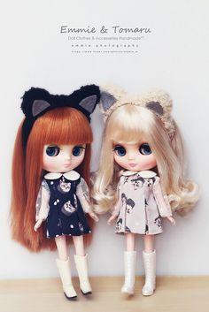 Meow Dress Set on Middie Blythe dolls by Emmie Ame