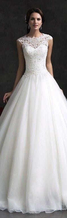 Amelia Sposa 2015 bridal monica lace bodice cap sleeve ball gown wedding dress