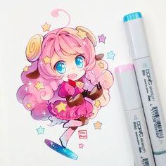 Moa anime, Show by Rock. #chibi #kawaii #chibiart #moa #showbyrock #fanart #cute #pink #copicmarker #copicmultiliners #copicsketch #copicciao #stars