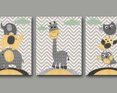Ensemble bébé garçon pépinière Art Print pour enfants mur Art chambre Decor Kid impression pépinière Decor bébé fille de 3 hiboux girafe éléphants gris jaune /