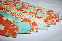 Tangerine Neckties - Citrine Orange and Aqua Blue - Mens Necktie or Boys Tie - Wedding Neckties