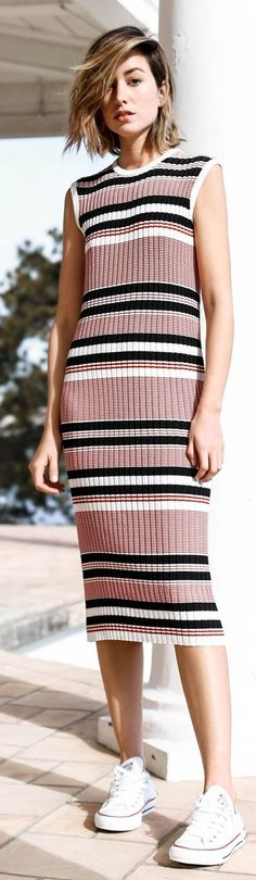 The Chronicles Of Her Striped Knit Tank Dress