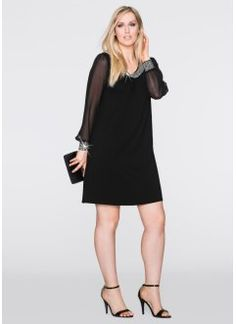 Straz Aplike Elbise, BODYFLIRT, siyah