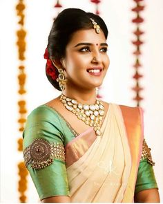 Top 13 Traditional South Indian Wedding Jewellery Trend of This Year Silk Saree Blouse Designs, Bridal Blouse Designs, Blouse Neck Designs, South Indian Blouse Designs, Hand Work Blouse Design, Designer Blouse Patterns, Bollywood, Fashion Ideas, Fashion Fall