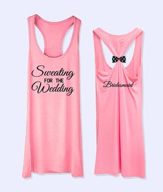 Sweating for the wedding  Bridemaid  work out  fitness bow tank top yellow grey red  PK_374A on Etsy, $26.00