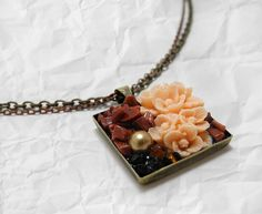 Garden Mosaic Necklace  Goldstone by ardentreverie on Etsy, $30.00