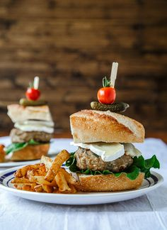 Lemon Tarragon Chicken Burgers with Fries