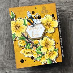 Bee Stencil, Stencils, Hero Arts Cards, Sunflower Cards, Bee Cards, Animal Cards, Cards For Friends, Cool Cards, Homemade Cards
