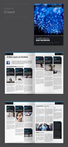 """#Graphic #Design : Magazine """"10 idées reçues sur Facebook"""" pour Creasit by @elysta44"""