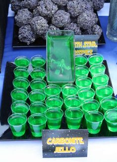 Star Wars party themed ideas :) the Carbonite Jello is awesome! th - Star Wars Bday - Ideas of Star Wars Bday - For Nate! Star Wars party themed ideas the Carbonite Jello is awesome! the guy trapped in the jello is hilarious. Star Wars Baby, Theme Star Wars, Birthday Star, Adult Birthday Party, Birthday Party Themes, Birthday Ideas, Cake Birthday, Star Wars Birthday Games, Star Wars Party Food