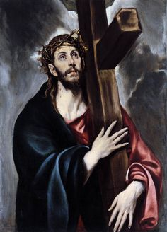 """Christ Carrying the Cross~Doménikos Theotokópoulos, most widely known as El Greco, was a painter, sculptor and architect of the Spanish Renaissance. The nickname """"El Greco"""" refers both to his Greek origin and Spanish citizenship. Caravaggio, Images Of Christ, Spanish Artists, Spanish Painters, Sacred Art, Christian Art, Religious Art, Metropolitan Museum, Oeuvre D'art"""