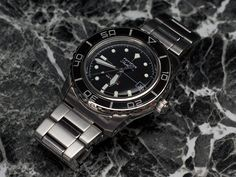 Modified Seiko SNZH55K1 watch, in homage to the classic Blancpain Fifty Fathoms watch