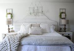 Cotton Stem Blog farmhouse bedroom shiplap headboard