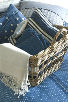 How to fill a laundry basket with vintage indigo items for the home, such a simple yet effective look