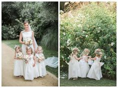 Flower girls looking adorable holding miniature versions of the bride's bouquet. Wedding Party Rentals: Posh Peony Floral and Event Design.