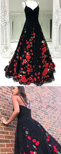 327814e828d Encantadores correas espagueti largo negro y rojo princesa vestidos de baile