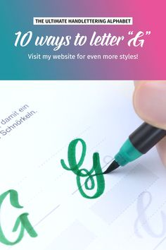 """10 ways to letter """"G""""! more styles on my website. The videos shows some of the awesome letter styles in my ultimate hand… Types Of Lettering, Lettering Styles, Brush Lettering, Alphabet A, Hand Lettering For Beginners, Hand Lettering Tutorial, Calligraphy Handwriting, Calligraphy Letters, Cursive"""