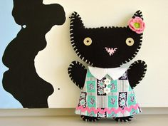 Black Cat made of felt and other fabric