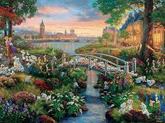 Ceaco The Disney Collection - 101 Dalmatians Puzzle by Thomas Kinkade Puzzle (750 Piece)  Thomas Kinkade's Disney puzzles consists of paintings inspired by memorable scenes from iconic Walt Disney films. Previously only available in Walt Disney theme parks, the collection is now available on Amazon.com.This puzzle includes 750 pieces, proudly made in the USA by Ceaco. Thomas Kinkade Disney Puzzles, Thomas Kinkade Art, Disney Pixar, Disney Art, Disney Theme, Disney Films, Walt Disney, Disney Characters, Thomas Kincaid