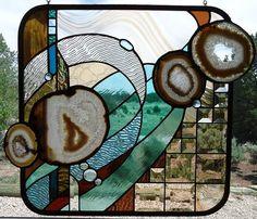 Stained Glass Window  ORGANIC HARMONY  by ZuniMountainArtGlass