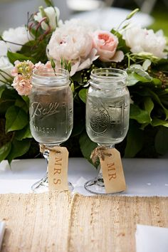 "Mason jar goblets are the new mason jar. we love these ""Mr."" and ""Mrs."" tags! - JENAE"