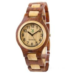 Wood Watch for Ladies.  Premium quartz movement.   Adjustable band.  Water resistant.  only at Martin & MacArthur.