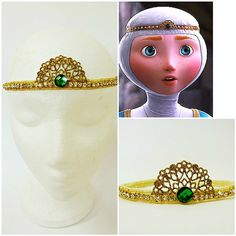 PRINCESS MERIDA TIARA , Merida Rhinestone Crown, Merida Cosplay Costume,Forehead Headband, Brave Run Merida Costume, Merida Cosplay, Frog Costume, Gold Tiara, Gold Crown, Scary Costumes, Cosplay Costumes, Forehead Headband, Cinderella Shoes
