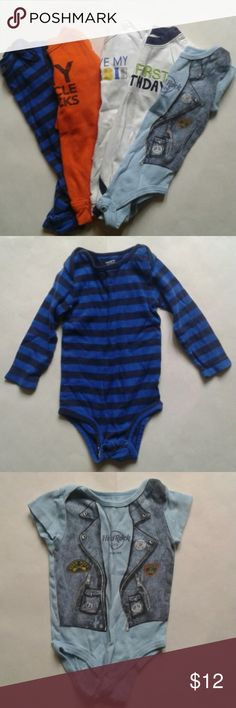 Lot of 5 Baby Boy Onsies- Size 12 Months Lot of 5 Baby Boy Onsies- Size 12 Months  Lot includes: 3 carters long sleeves, 1 Carter short sleeve,  1 hard rock cafe short sleeve.  Baby onsies are a must have for they allow quick access to change diapers. You can't go wrong for the price. Get these onsies today before they are gone! carter's and hard rock cafe One Pieces