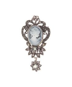 Loving this Clear & Gray Cameo Brooch on #zulily! #zulilyfinds