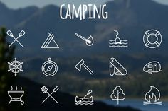Camping icons by brandcut on @creativemarket