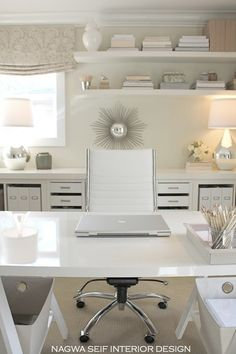 Built-in shelves/home office design. Chic contemporary home office by Nagwa Seif Interior Design Home Office Space, Home Office Design, Home Office Decor, Office Furniture, Office Designs, Office Spaces, Furniture Ideas, Furniture Stores, Modern Office Decor