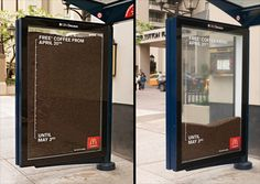 Transit shelter in Vancouver was turned into an 'hourglass' filled with coffee beans, reminding customers of the promotion's short-term nature
